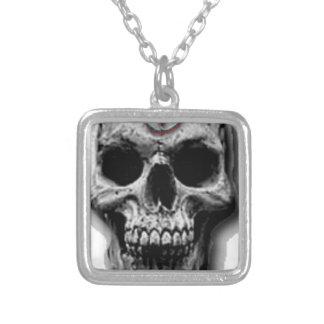 Satanic Evil Skull Design Silver Plated Necklace