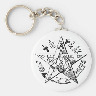 Satanic Pentagram Basic Round Button Keychain