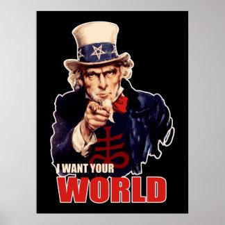 Satanic Uncle Sam World Domination Poster