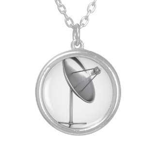 Satelite dish silver plated necklace