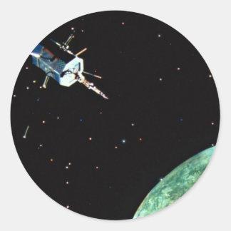 Satellite above Earth Classic Round Sticker