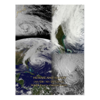 Satellite Collage View of Hurricane Sandy Postcard