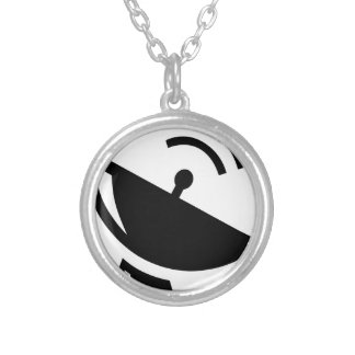 Satellite Dish Silver Plated Necklace