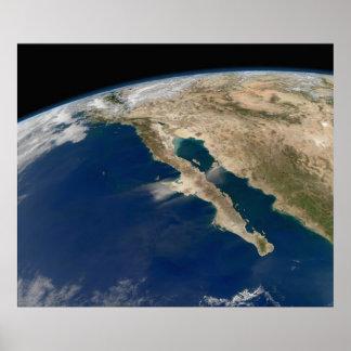 Satellite Image Baja Peninsula Mexico Poster