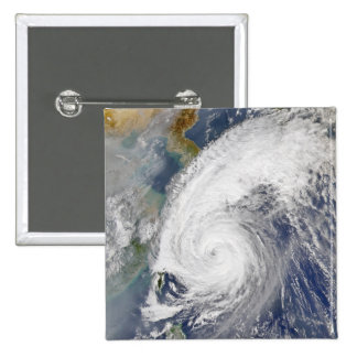 Satellite image of a typhoon 2 inch square button