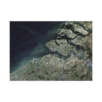 Satellite Image of Antwerp Belgium Canvas Print