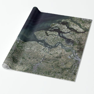 Satellite Image of Antwerp Belgium Wrapping Paper