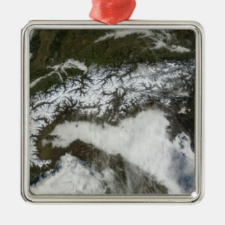 Satellite image of The Alps mountain range Silver-Colored Square Ornament
