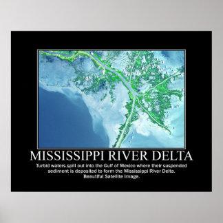 Satellite Image of the Mississippi River Delta Poster