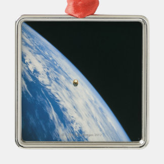 Satellite in Orbit Silver-Colored Square Ornament