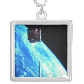 Satellite Orbiting Earth 3 Silver Plated Necklace