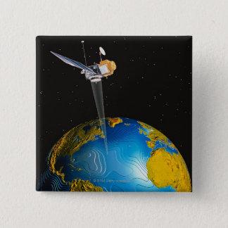 Satellite Orbiting Earth 6 2 Inch Square Button