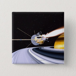 Satellite orbiting Saturn 2 Inch Square Button