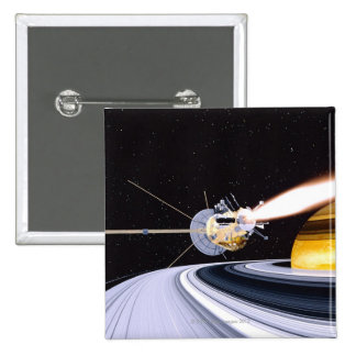 Satellite orbiting Saturn 2 Inch Square Button