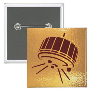 Satellite Robot Space Station - Medal Icon Gold 2 Inch Square Button