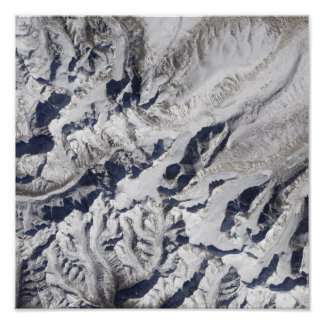 Satellite view of a Himalayan glacier Poster