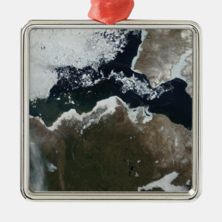 Satellite view of Northwest Canada Silver-Colored Square Ornament