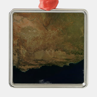 Satellite view of South Africa Silver-Colored Square Ornament