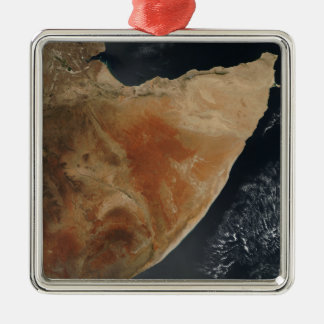 Satellite view of the Horn of Africa Silver-Colored Square Ornament