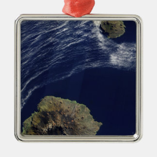 Satellite view of the Prince Edward Islands Silver-Colored Square Ornament