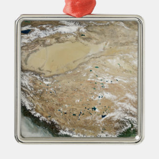 Satellite view of the Tibetan Plateau Silver-Colored Square Ornament