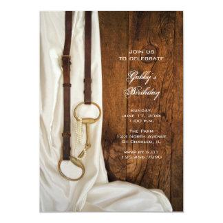 Satin and Horse Bit Country Birthday Party Invite