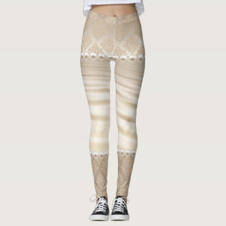 Satin Damask taupe beige white pearls Leggings