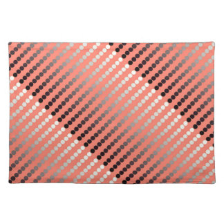 Satin dots - coral and pewter placemat