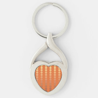 Satin dots - rust and gold Silver-Colored twisted heart keychain