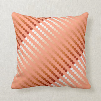 Satin dots - shades of peach throw pillow