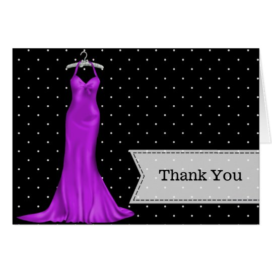 Satin gown thank you card