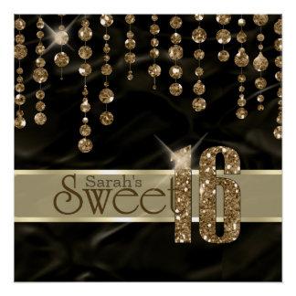 Satin Jewel Sweet Sixteen Black Gold ID260 Perfect Poster