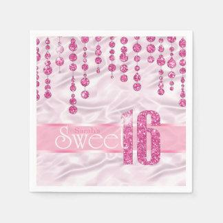 Satin Jewel Sweet Sixteen Pink ID260 Paper Napkin