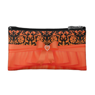 Satin Orange Ruffles & Black & Orange Damask Makeup Bag