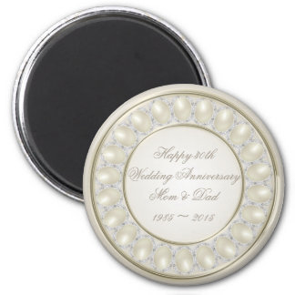 Satin Pearl 30th Wedding Anniversary Magnet