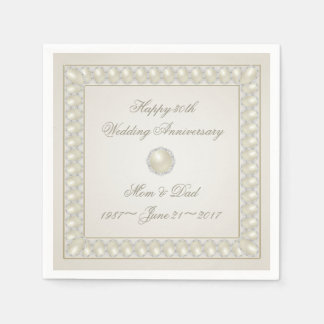 Satin Pearl 30th Wedding Anniversary Paper Napkin