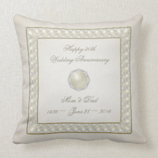 Satin Pearl 30th Wedding Anniversary Throw Pillow