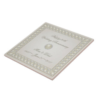 Satin Pearl 30th Wedding Anniversary Tile