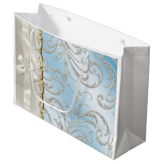 Satin Pillow Blue Fade and White Bow gold Large Gift Bag