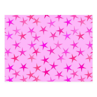 Satin stars, orchid on pale pink postcard