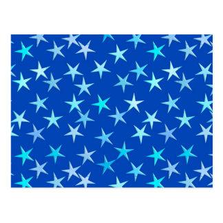 Satin stars, pale blue on cobalt postcard