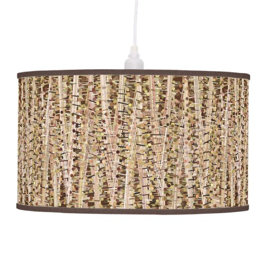 Satin Stripes and Dots Abstract, Brown and Beige Hanging Pendant Lamp