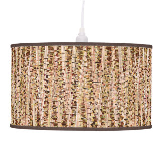 Satin Stripes and Dots Abstract, Brown and Beige Pendant Lamp