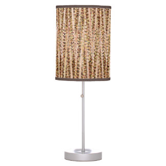 Satin Stripes and Dots Abstract, Brown and Beige Table Lamp