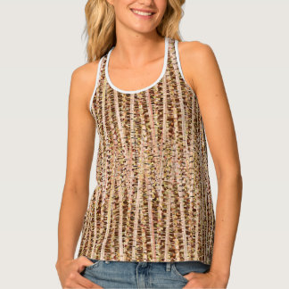 Satin Stripes and Dots Abstract, Brown and Beige Tank Top
