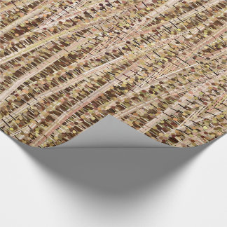 Satin Stripes and Dots Abstract, Brown and Beige Wrapping Paper