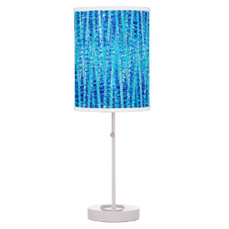 Satin Stripes and Dots Abstract, Cobalt Blue Table Lamp