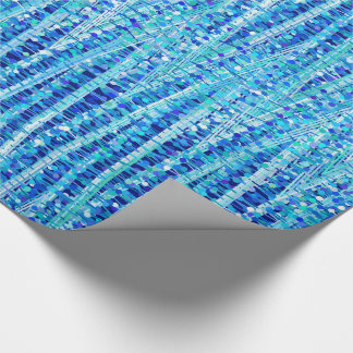 Satin Stripes and Dots Abstract, Cobalt Blue Wrapping Paper