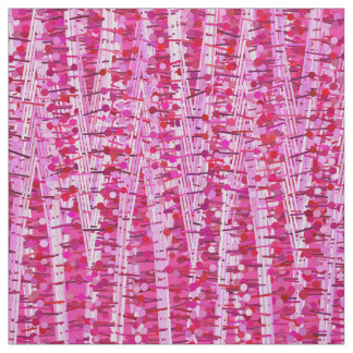 Satin Stripes and Dots Abstract, Fuchsia Pink Fabric