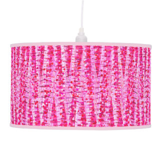 Satin Stripes and Dots Abstract, Fuchsia Pink Pendant Lamp